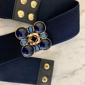 Lilly Pulitzer Navy and Gold Elastic Belt